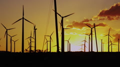 Renewable Energy Wind Turbines at Sun Set in California - stock footage