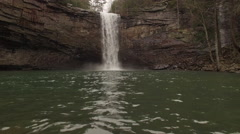 Aerial Winter Tennessee Waterfall 011 High Ascent Tilt Down Stock Footage