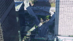 High Angle Overview of Freeway Ramp in Downtown Los Angeles -Version 1- - stock footage