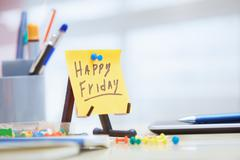 Friday text on adhesive note - stock photo