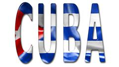 Cuba Word With Flag Texture - stock illustration