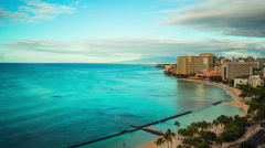 Time Lapse - Daytime Skyline of Waikiki Beach , Honolulu, Oahu, Hawaii Stock Footage