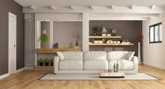 Modern lounge with white couch - stock illustration