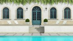 Luxury holiday villa with Pool Stock Illustration