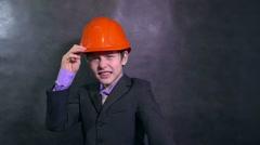 boy angry architect teenage builder in helmet swears yells dissatisfied error - stock footage