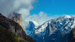 Time Lapse - Beautiful Clouds Moving Over Snowy Yosemite Mountains and Half Done Stock Footage