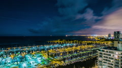 Time Lapse - Clouds Moving Over in Waikiki Beach Harbor at Night Stock Footage