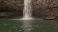 Aerial Winter Tennessee Waterfall Base 003 Orbit Clockwise Stock Footage