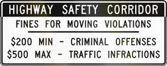 Road sign used in the US state of Virginia - Fines for moving violations Stock Illustration