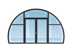 Arched window and door - stock illustration