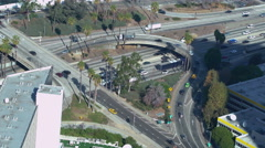 High Angle Overview of Freeway Ramp in Downtown Los Angeles -Version 2- - stock footage