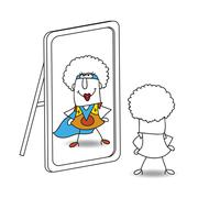 The mirror and funky supergirl - stock illustration