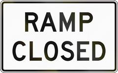 Road sign used in the US state of Virginia - Ramp closed Stock Illustration