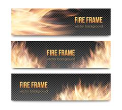 Set of realistic transparent fire flame banners - stock illustration