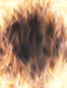 Realistic transparent fire flame banner - stock illustration