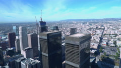 High Angle Overview of Freeway Cityscape in Downtown Los Angeles -Pan Right- - stock footage