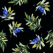 Seamless olives - stock illustration