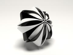 Isolated black white abstract object - stock illustration