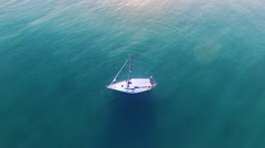 Samui island sunset view from drone an sail boat yacht. Thailand Stock Footage
