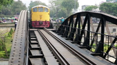Kwai bridge train approaching Stock Footage