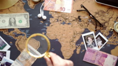 Two young people together planning trip to Europe. Top view. Stock Footage