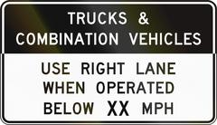 Road sign used in the US state of Virginia - Trucks and combination vehicles Piirros