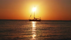 Samui island sunset view  on sail boat yacht. Stop Motion. Thailand Stock Footage