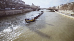 The barge floats down the river Stock Footage
