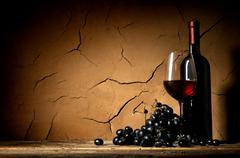 Ripe grape and wine Stock Photos