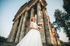 Gorgeous romantic gentle stylish beautiful caucasian bride on the background - stock photo