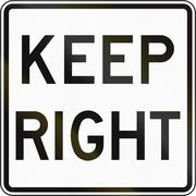 Road sign used in the US state of Virginia - Keep right - stock illustration