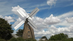 An operating windmill at oatlands with sails turning Stock Footage