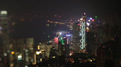 hong kong tilt shift city view at night - stock footage