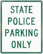 Road sign used in the US state of Virginia - State police parking only Stock Illustration