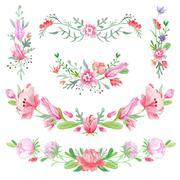 Shabby Chic Floral Vignettes - stock illustration