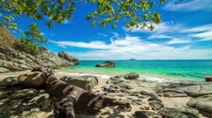 4K TimeLapse. Old tree and stones in the water on a deserted beach in Phuket Stock Footage