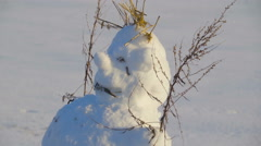 A fatty snowman with lots of twigs on him - stock footage