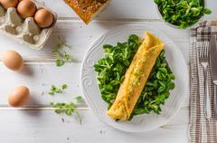True French omelette with salad - stock photo