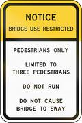 Road sign used in the US state of Virginia - Bridge use restricted - stock illustration