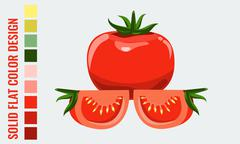 Fresh healthy red single and slice tomatoes with flat style. - stock illustration