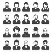 Simple people avatars and userpics with different style and hairdo Stock Illustration