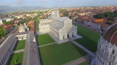 Miracles Square aerial view in Pisa, Tuscany - stock footage