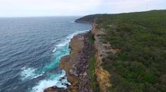 Aerial view of Shelly beach near Sydney, NSW Stock Footage