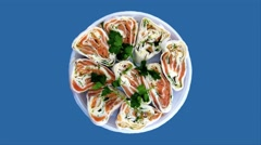 Sushi on a blue background - chromakey - var2 - stock footage