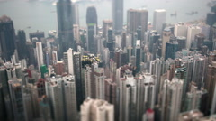 hong kong tilt shift city view at day - stock footage