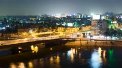 Cairo traffic at night time lapse - stock footage