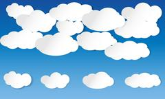 Illustrated clouds on blue sky - stock illustration