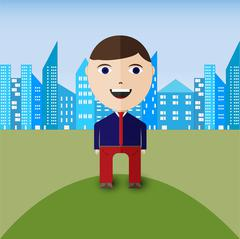 Happy smiling business man with city panorama on background Stock Illustration