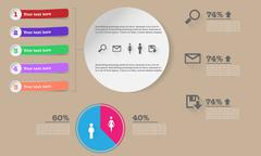 Infographics with various buttons, ribbons, graphs in modern colors Stock Illustration