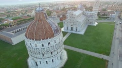 Square of Miracles aerial view in Pisa, Tuscany - stock footage